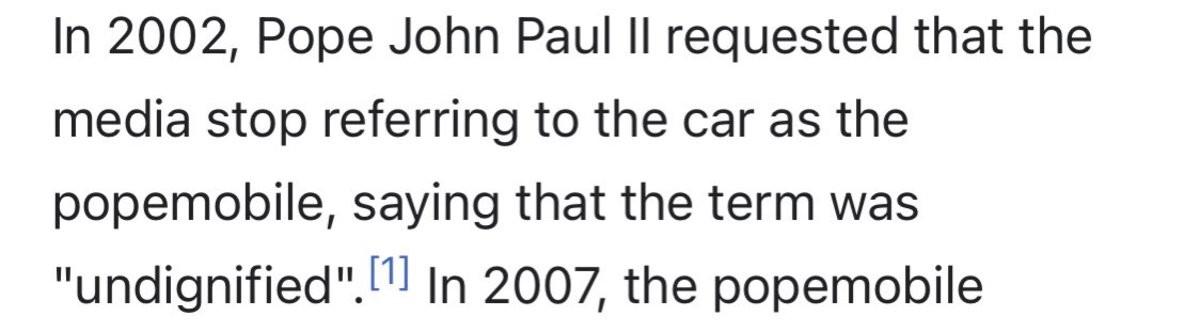 Pope car. .. Pepemobile.