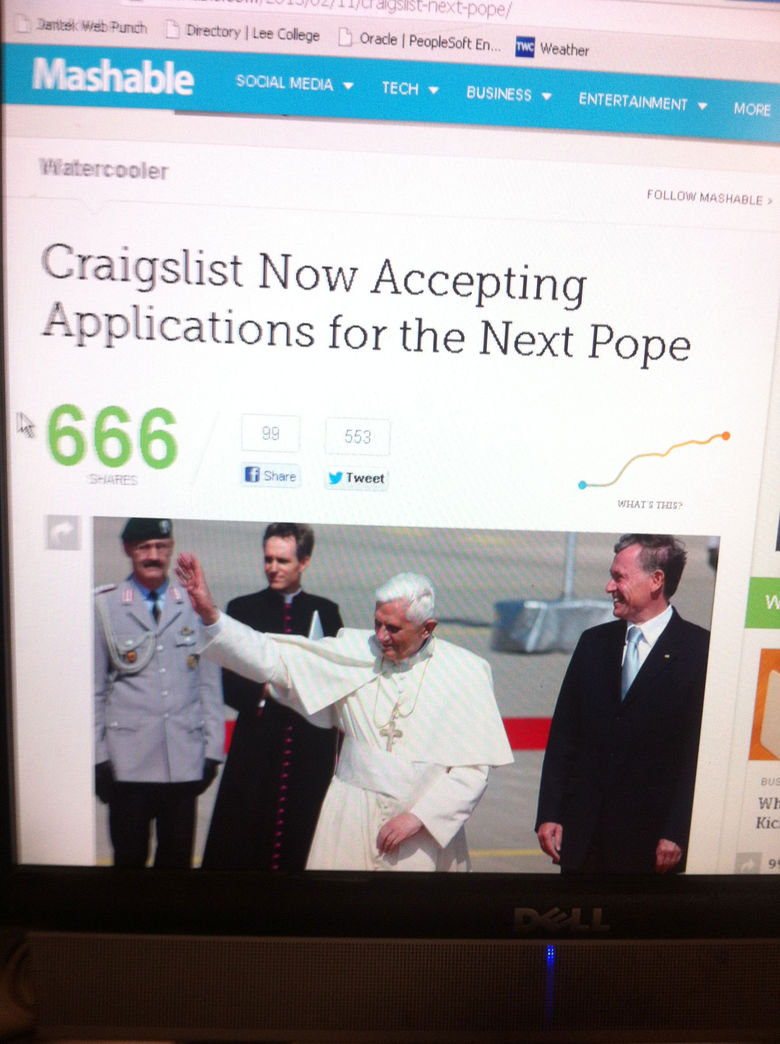 Pope!. . xilaur 1; F Directory 1 Lee Cologne made I .. Weather fl sown. MEDIA v ? iil LI answers LG ENTERTAINMENT . Mom Craigslist N ow Accepting Applications fo