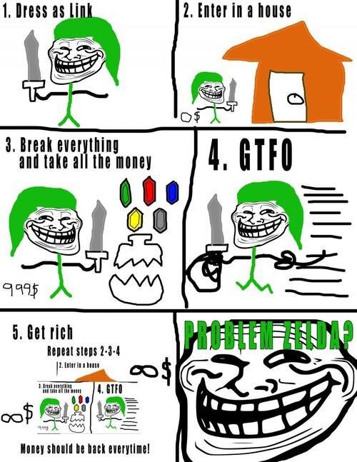 Problem Zelda?. O_O HAHAHA!!!.. forgot step 6, get arrested, killed or beat up