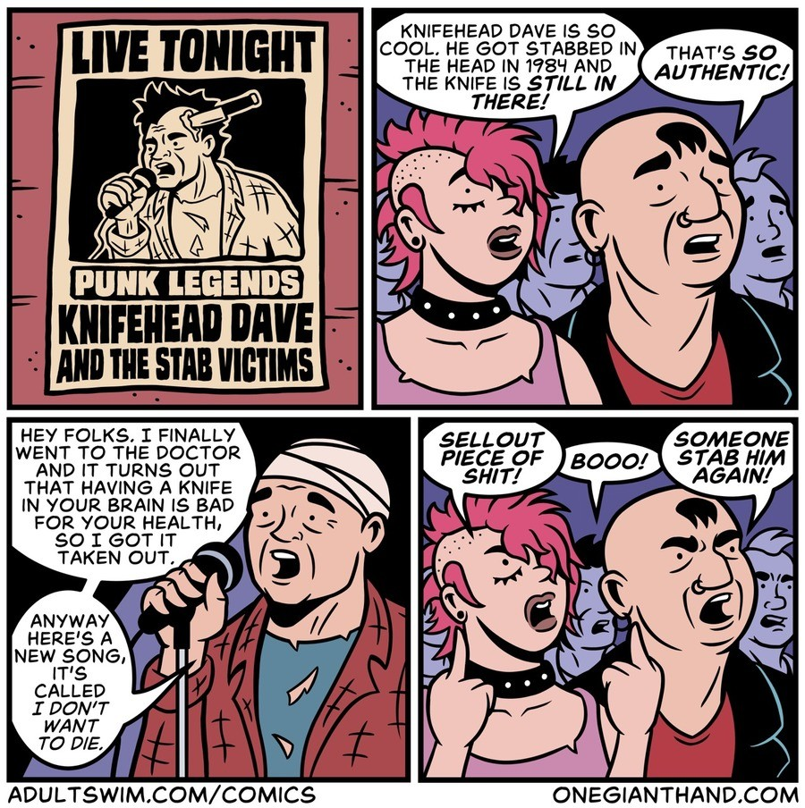 """Punk legend. .. I hate punks who think all punk is just recklessly getting up and """"nihilism""""."""