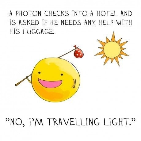"""Puns. Do you even what.. l PHOTON CHECKS INTO l HOTEL END IS FLAKED IF HE NEEDS MIN' HELP NO, PM TRAVELLING LIGHT."""""""