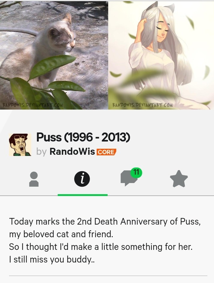 Puss is a girl and was an actual cat. .. >Learning that Puss is a girl >Learning the next day that Puss has been dead for 6 yearsComment edited at .