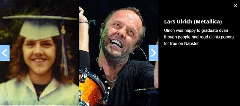 R O A S T E D. credit to loudwire, I suppose.. Lars Ulrich Wet: Ulrich was happy he graduate even thpugh people had read all his papers fer free an Napster.