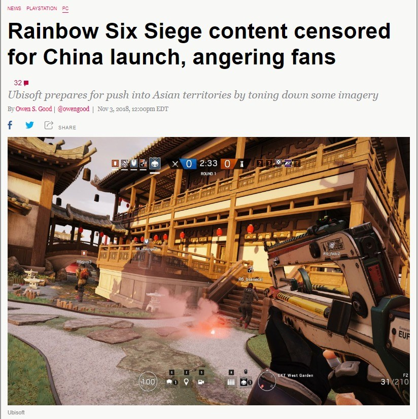 Rainbow Six Siege content censored for China launch. join list: VidyaGames (385 subs)Mention Clicks: 25714Msgs Sent: 197585Mention History.. China, where you can mutilate animals but you can't show a knife in a video game.