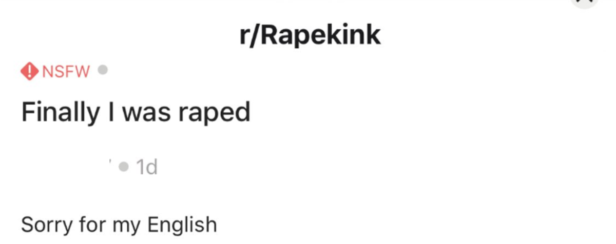 Rape kink. .. I want to believe this was their entire post