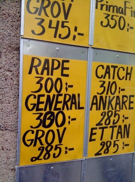 Rape: 300 krona. :- is Krona which is a currentcy in sweden..
