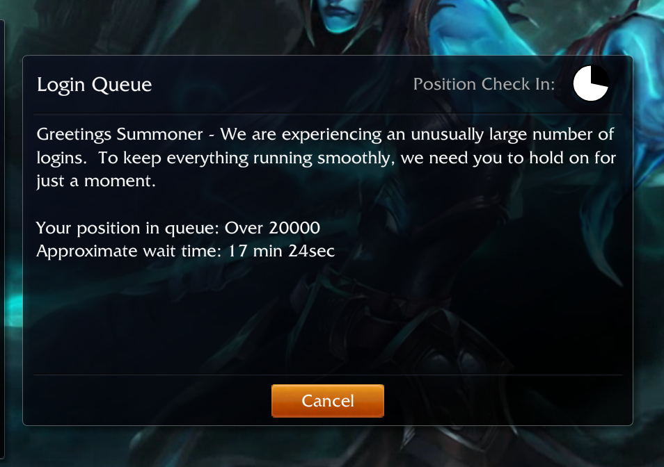Really Riot. New patch just went into effect. Guess I won't be playing for awhile.. X Qotd Login Queue I-' osirian Check In: (,, Greetings Summoner - We are exp