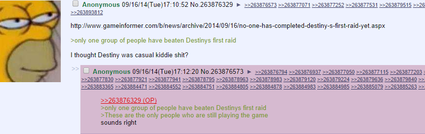 """#rekt. Sagrets. Galatia' p, 3' yngy we group of people have beaten """" [', raid I ma Light Destiny was casual kiddie sh it'?. I've actually been enjoying the game. It's a well made mix of b.lands and halo."""