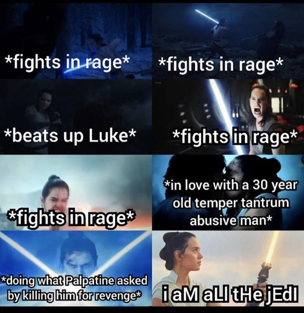 Remember to hate. .. Palpy: Kill me, so I can become you! Rey: Okay. Palpy: Wait, that's illegal!