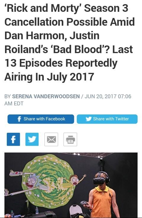 Rick and morty season 3 might get canceled. join list: Cartoonsandlolis (1727 subs)Mention History. Rick and Marty' Season 3 Cancellation Possible Amid Dan Harm