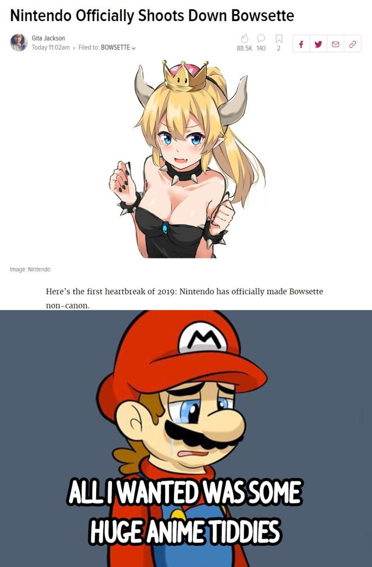 RIP Bowsette. join list: CuteMonsterWaifu (1359 subs)Mention History join list:. We were so close to have a canon version of her...