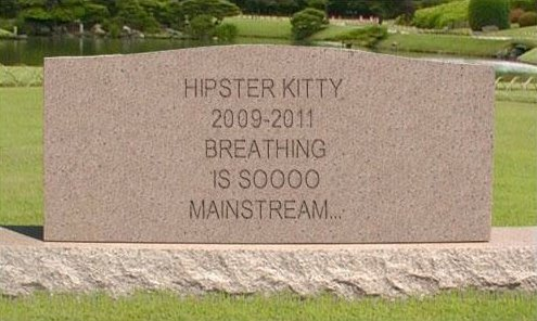 RIP Hipster Kitty. Goodnight sweet douchebag. EVREYTHING_ -f 1330000 :¢ .. and dying isn't mainstream? being immortal without breathing, now that's something not mainstream!