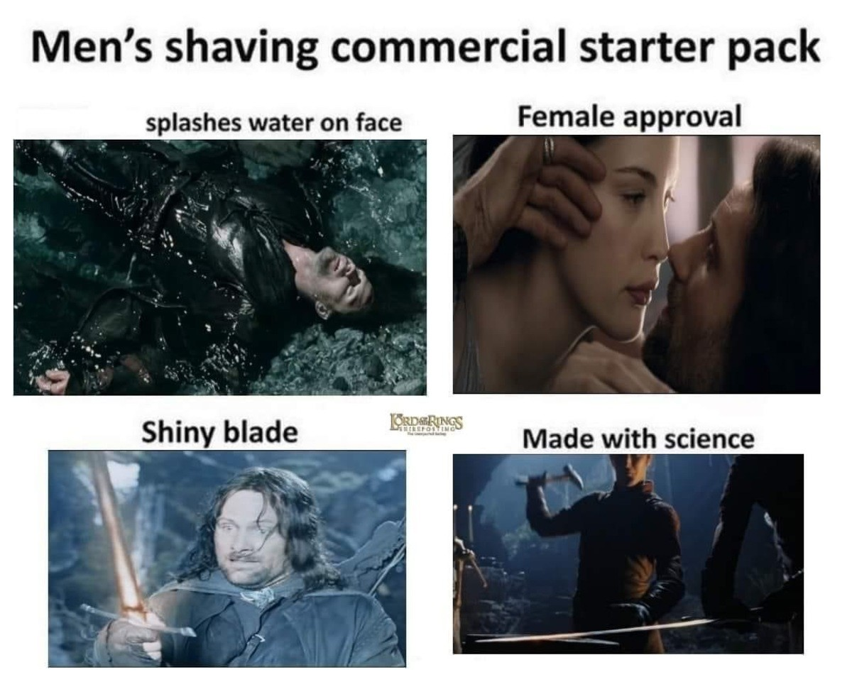 rotating big s. .. Meanwhile in the Mordor, that poor ork who tried to shave his face with this new razor.