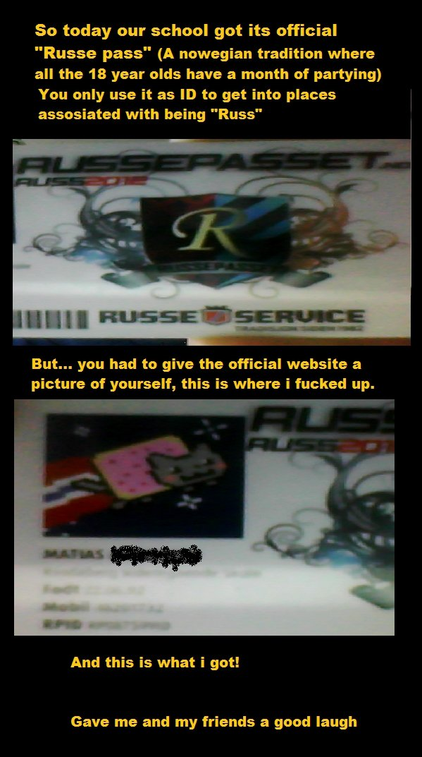 """Russ 2012. My first comic, be gentle. + 1 thumb for anyone who posts """"i love you"""" by patrick or boobs. So today our school got its official Russe pass"""