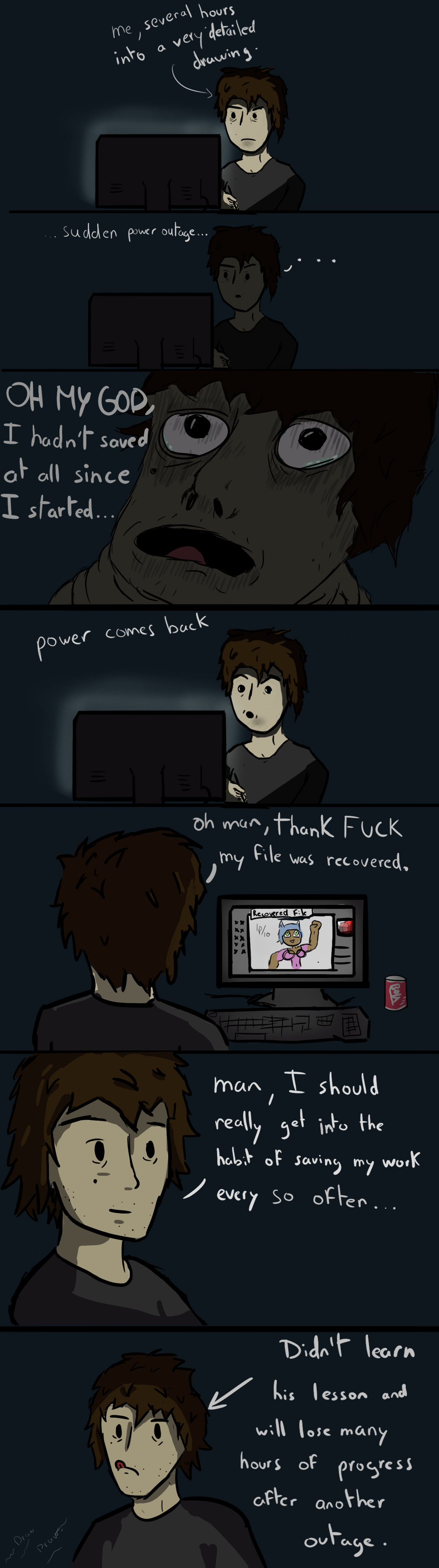 Save yo . The irony is that i put this together in one sitting and never saved either. yes i'm doing oc comics now, sue me. dont expect them very often tho.. >not having autosave enabled