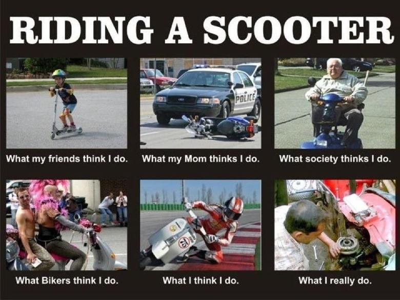 Scooters. lolll. What Bikers think I do. What I think I do. What I really do.