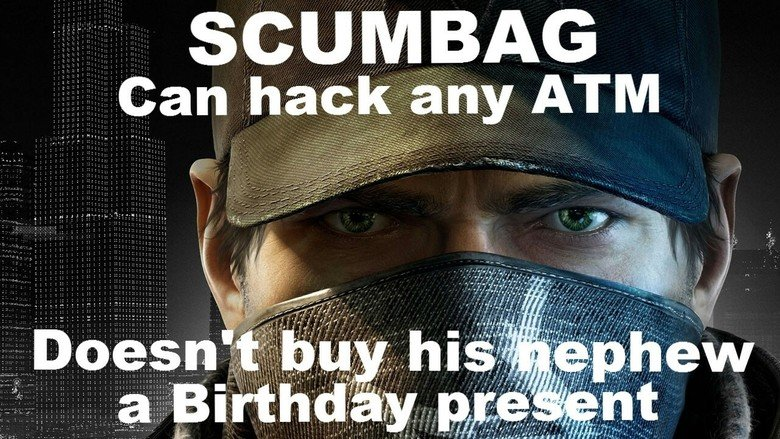 """Scumbag Aiden. not even the right way to present the meme but ok..... >go to the bar for a mission >meet a guy named T-Bone >he tells me to give the bar owner $100 as a """"security deposit"""" >""""I'm not reall"""