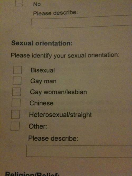 "Sexual Orientation. whats yours. 1 No Please describe: H Sexual orientation: Please identify your sexual orientation: L"" I Bisexual Gay man E] Gay woman/ lesbia"