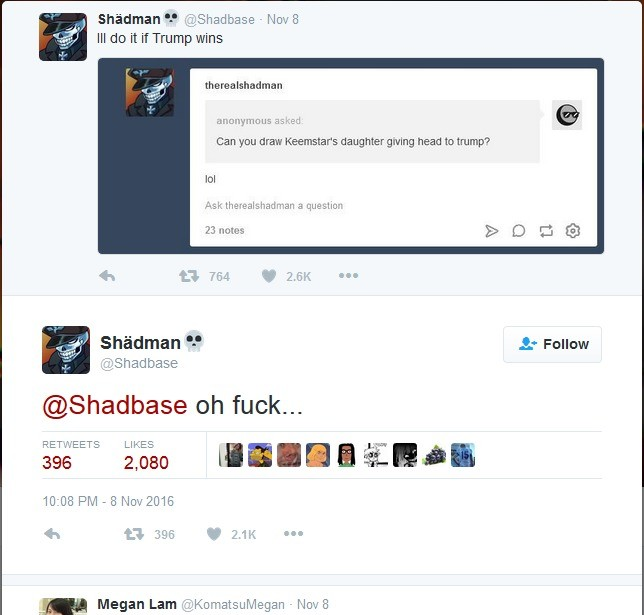 """Shadebase is doing it!. If you got to shadbase right now his most current picture is that of a preview or what he is going to do. He has no shame.. Ahmadman """" ."""
