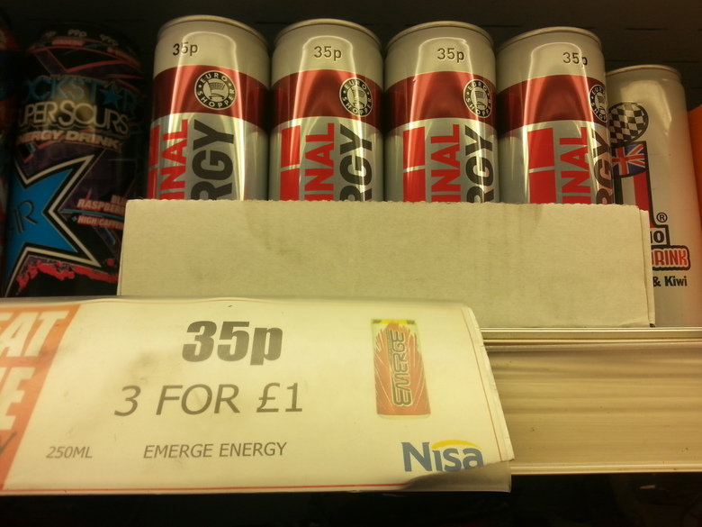 Shelf stacking. I'll have three please. lillte I' ' ENERGY. I see they got their new shipment of Anal Orgy,