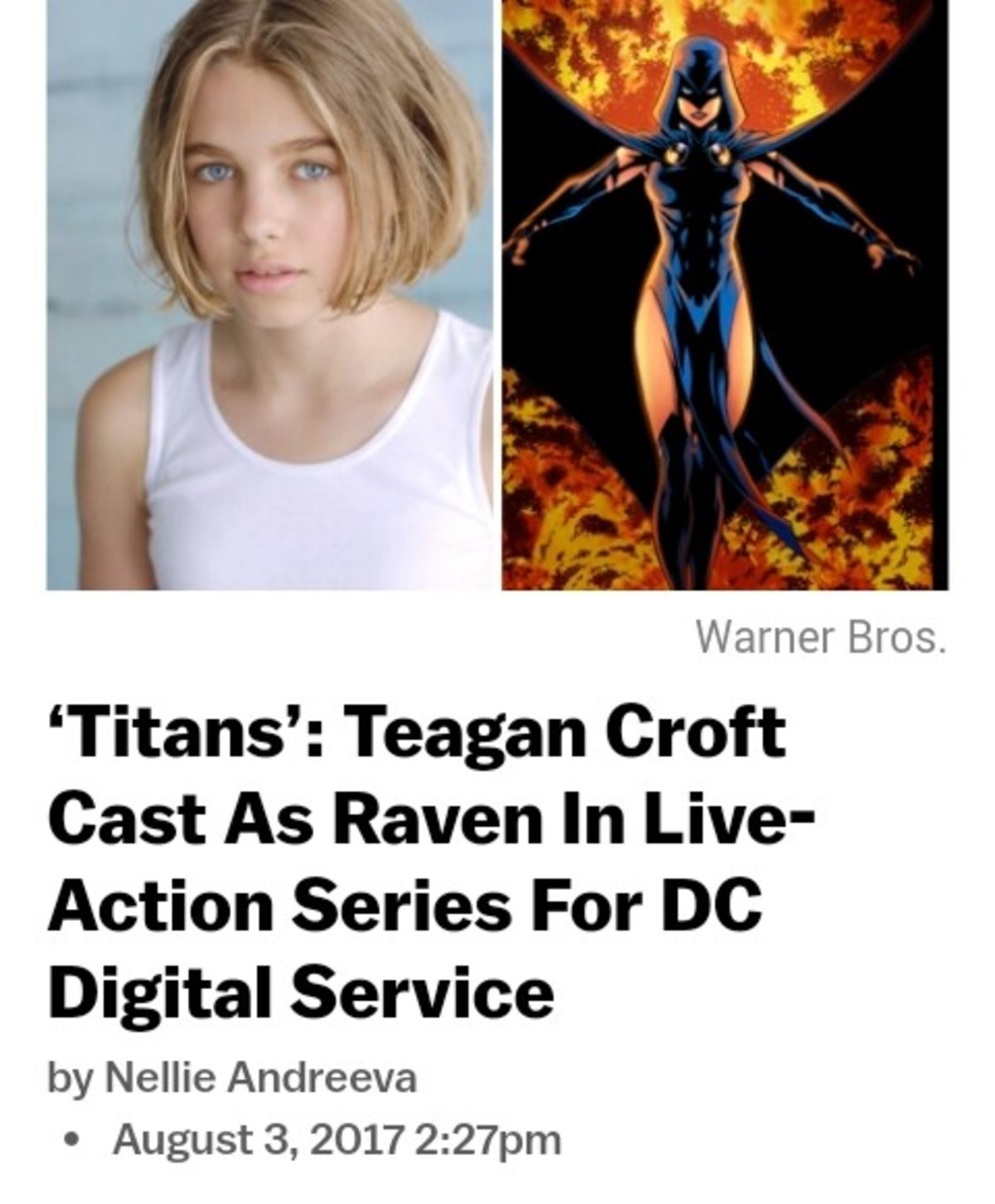 She's 13. join list: Lewdraven (1567 subs)Mention History. Warner Bros. Titans': Teagan Croft Cast As Raven In Live- Action Series For DC Digital Service by Nel