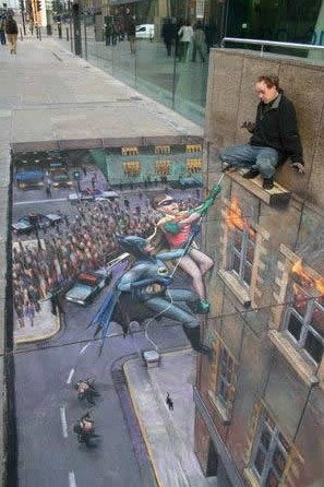 SidewalkArt...Batman&Robin. To the rescue.. repost