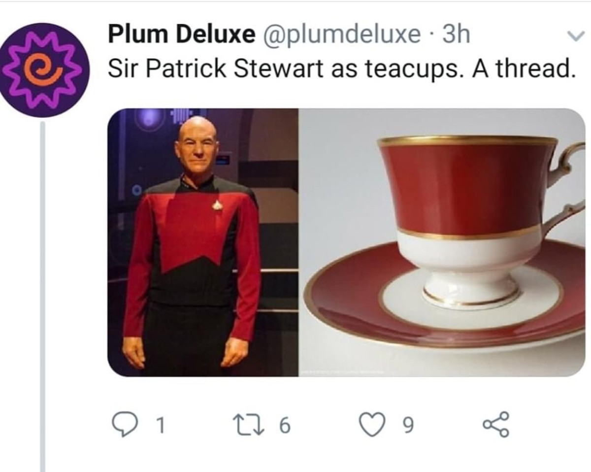 Sir Patrick Stewart as Teacups. .. These are all coffee cups. We even sell the first one, it's a popular posh commie politician style that some people really dig.