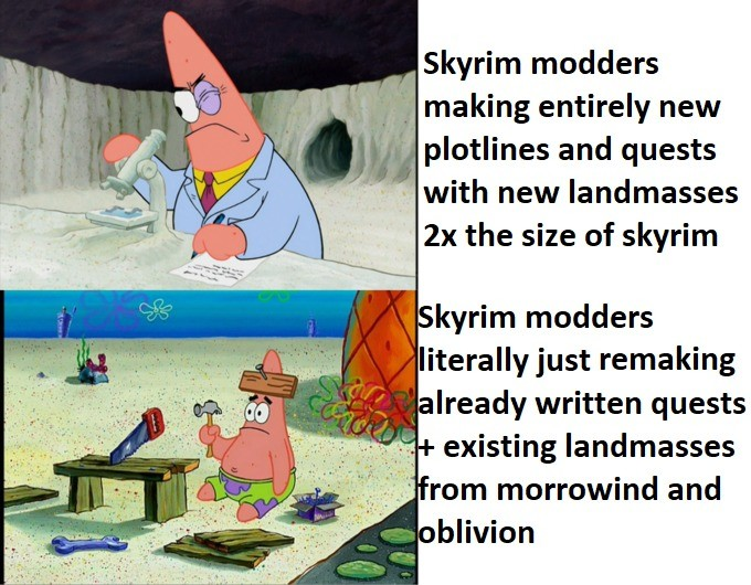 Skywind and Skyblivion ETA: Never. .. The issue is they're having to remake EVERYTHING from scratch, they cant just use dungeons in Skyrim for any, only the assets. It's a huge undertaking and are p
