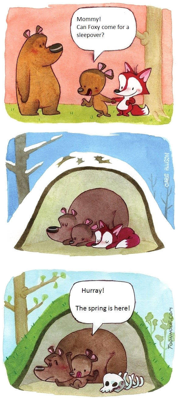 sleep over. .. Foxes hibernate too tho