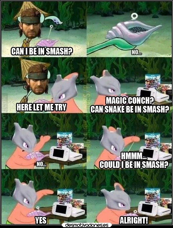 """Snake 4 smash. TFW snake was my favorite character in brawl. (I translated this comic from some Spanish post) .. can punished """"venom"""" snake be in smash?"""