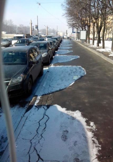 Snow shadows. .. do they only make black cars in that country?