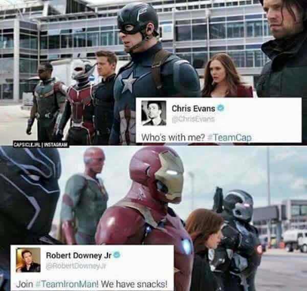 So it begins. . We have. Is the red guy behind iron man the dude who can change his density. If so he wins by default.