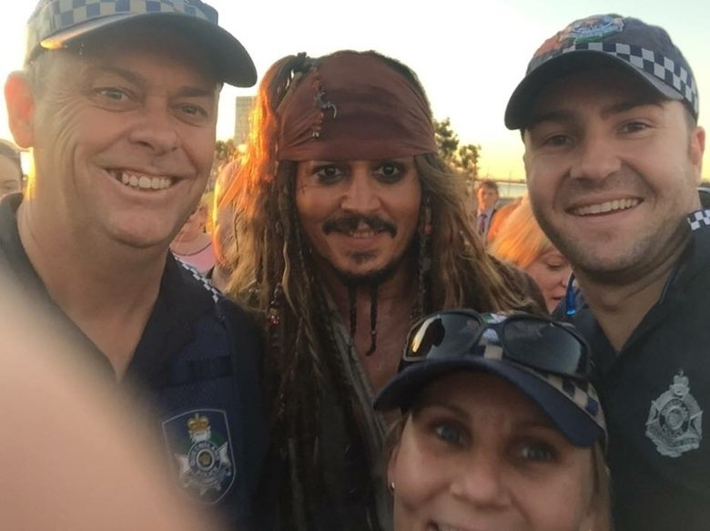 So Johnny Depp is walking around. So Johnny Depp is walking around South East Queensland dressed as Jack Sparrow. Local police posted this selfie to their faceb