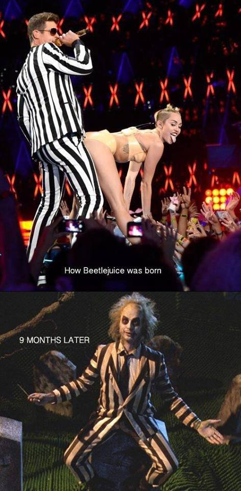 So that's how he came to be.. There is cake in the tags!. How Beetlejuice was born ink f. us 9 MONTHS LATER 1. He gave her the sandworm...?