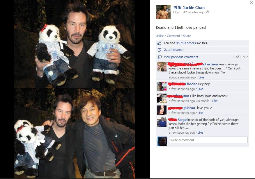 So this was just on Jackie's FB page. Oh, Keanu!.. Jackiiie! You should be helping with antique shop, not playing with pandas!