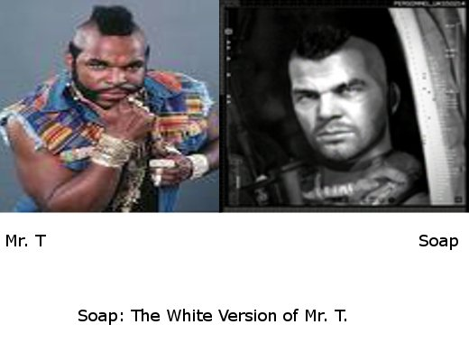 """Soap = Mr. T?. Thumbs up if you agree <br /> Also, yes, this only took me about 2 minutes to make .. Snap: The White Version of """" """". Would've taken me about 30 seconds ;o"""