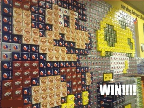 Soda display win!. .. It would suck if someone wanted to buy any of it.