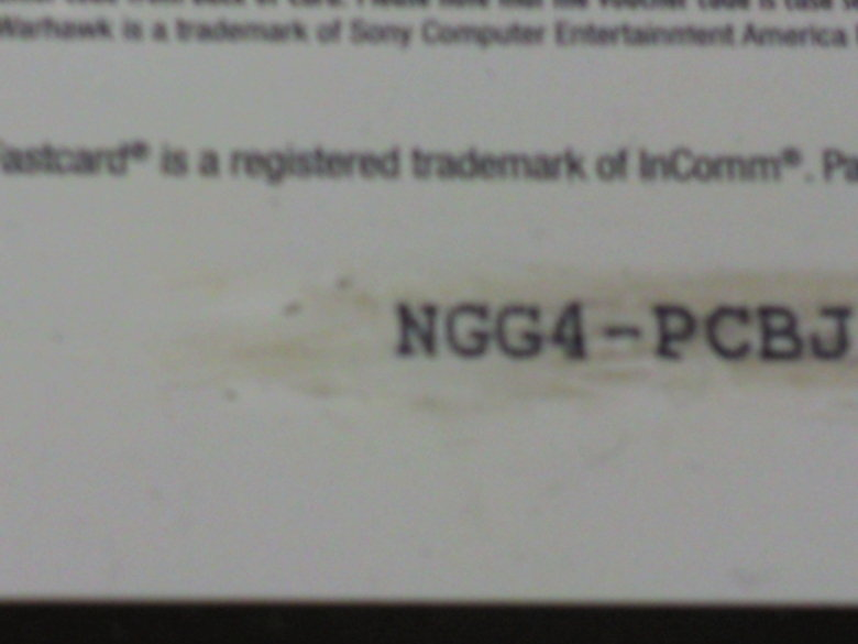 Sony's . I purchased a $20 PSN card, and I found part of the code quite interesting..