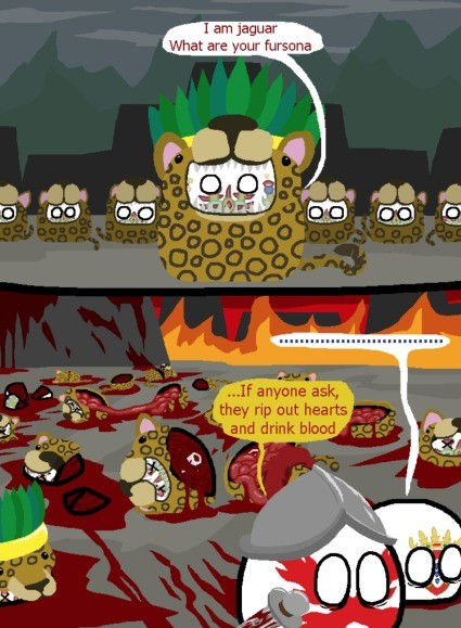Spanish Conquistadors first meeting with the Aztecs. .. For real they're just like us but so much of them is edgy religious practices Like we made swords to kill people what did they make? A baseball bat that leaves