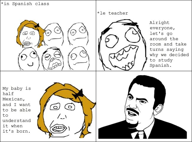 "Spanish class. Credit to ""luisa"" on MMT for the story, adapted to a comic myself.. in Spanish class teacher Alright everyine, let' s gs around the and"