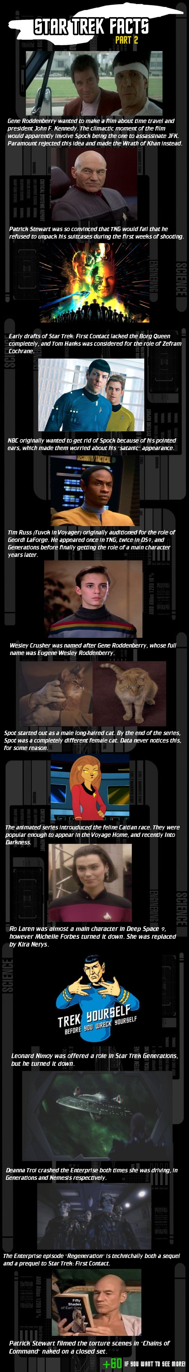 Star Trek Facts 2. Part 2, OC. I'll post the sources in the comments.. HER TREK FAILTE Gene Roddenberry wanted to make a mm about time travel and president John