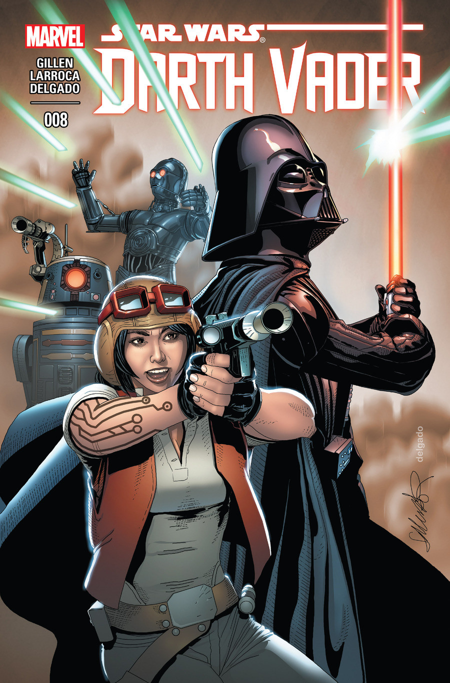 Star Wars Darth Vader issue 8. The eight issue of the canon Darth Vader comic Click the lists mention history and these three links for every previous Darth Vad