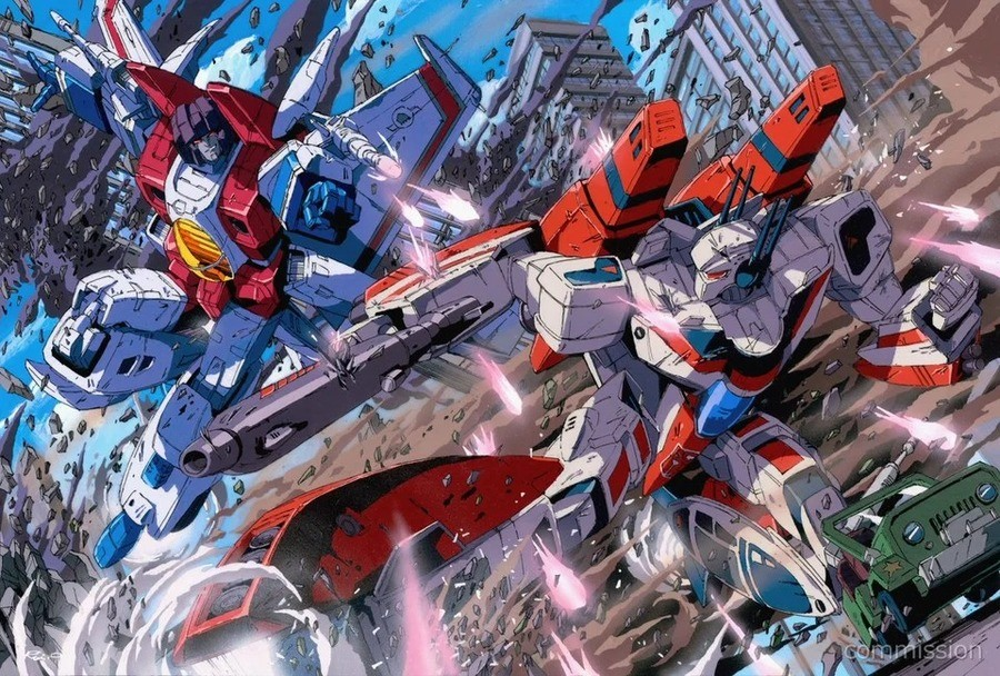 Starscream vs Jetfire, art by Rui Onishi (@marble_v_). v/status/1325019295835856901?s=19.. Why does Jetfire look like he is late for his gig at Macross