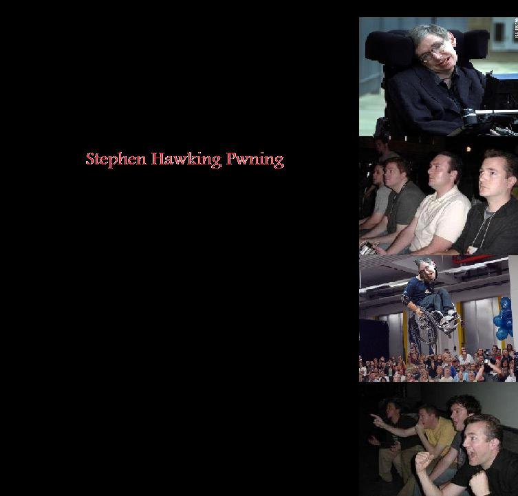 Stephen Hawking FTW. my first one done in about 5 minutes, more to come.. I laughed as soon as i saw the first pic. SEE YOU ALL IN HELL :D