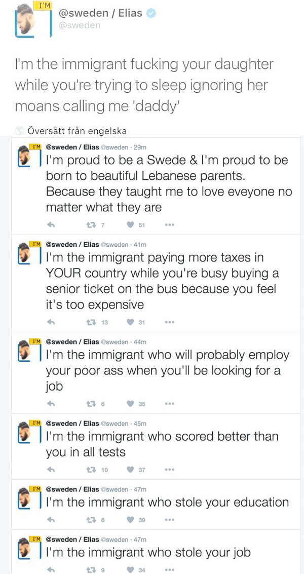 Sweden officially ed by refugee. Sweden gave control of it's official Twitter account to a muslim migrant to promote tolerance and multiculturalism, and he imme