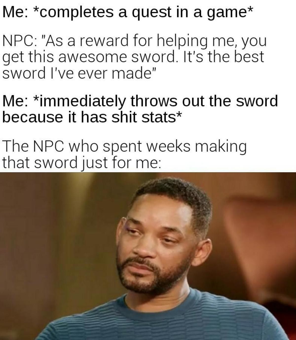 Sword. .. If it's a unique I stash it everytime, otherwise thanks for the 20 quid bucko