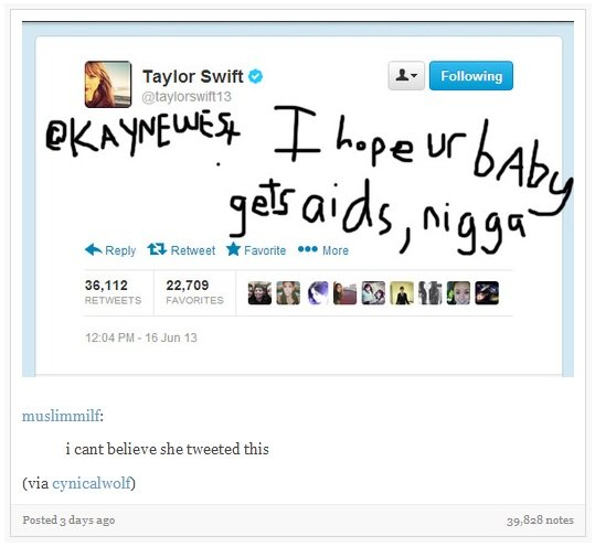 """T Swift. . Earnest Facorite """"W Mara mu slimming: i can believe she tweeted this days age 39, 313 notes. seems legit"""
