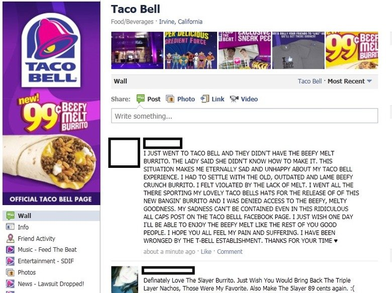 Taco Bell. Saw this on the Taco Bell Facebook Page about a year ago. I'm glad I screen'd it cause they deleted it shortly after.. Taco Bell maxi/ Beverages ' Ir