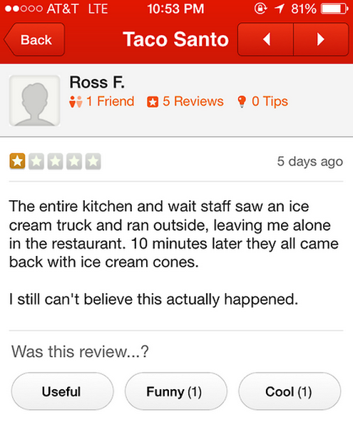 Taco Santo. . ATEMT LTE 103 53 PM Back Taco Santa 2 g Friend tll' 5 Reviews it 5 days ago The entire kitchen and wait staff saw an ice cream truck and ran outsi