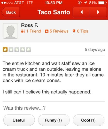 Taco Santo. . Dacc Santa Hess F. is l Friend El 5 Reviews , (1 Tips tit . 5 days ago The entire kitchen and wait staff saw an ice cream truck and ran outside, l